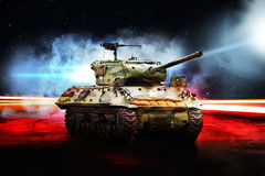 American tank on road in bright glow Royalty Free Stock Photo