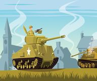 American tank on World War Two battlefield. Illustration Stock Images