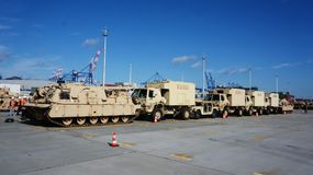 Americans USA equipment in the port of Gdynia stock photos