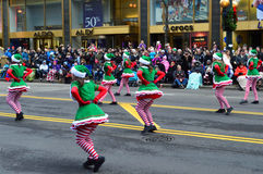 American tap dance in Thanksgiving Parade. Chicago, Illinois - USA - November 24, 2016: American tap dance in Thanksgiving Parade Royalty Free Stock Photos