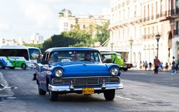 American taxi classic car in havana city. American blue taxi classic car in havana city Royalty Free Stock Photo