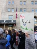 American Teachers, March for Our Lives, Anti Gun Protest, NYC, NY, USA Royalty Free Stock Photography