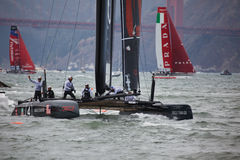 American Team waves to the crowd in the America's Cup Sailing races for Louis Vuitton Cup Stock Photo