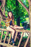 American Teenage Girl traveling, relaxing at Central Park, New Y Stock Image