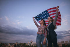 American teens with flag travel royalty free stock photo