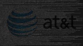 American Telefone und Telegraf Company AN t-Logo gemacht vom Quellcode auf Bildschirm Redaktionelle Wiedergabe 3D Lizenzfreie Stockfotos