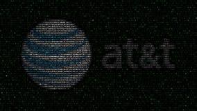 American Telefone und Telegraf Company AN t-Logo gemacht von den hexadezimalen Symbolen auf Bildschirm Redaktionelles 3D Stockfotografie