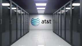 American Telephone y logotipo de Telegraph Company AT&T en la pared del cuarto del servidor Animación editorial 3D