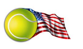 American Tennis Flag Illustration. Illustration of a American flag with the Tennis Ball Royalty Free Stock Photos