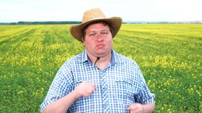 American Texan Man Dancing Energetic Wear Cowboy Hat and Farmer Clothing Dance at the field on sunny day.  stock video