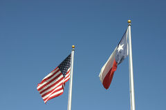 American and Texas Flags. American flag and texas flag stock image