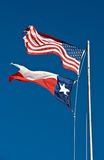 American and Texas flags Stock Photos