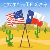 American and Texas flags in desert. American and Texas flags in the desert Stock Images