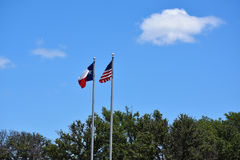 American and Texas Flags Stock Images