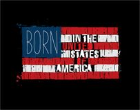 American Text Flag - Born in the USA Stock Photo