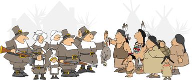 American Thanksgiving. This illustration depicts Pilgrims and Indians meeting for Thanksgiving Stock Photography