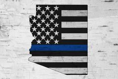 Free American Thin Blue Line Flag On Map Of Arizona Stock Images - 155674894