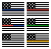 American Thin Line Flags. Vector American Thin Line Flag Set - gold, blue, red, silver, green Royalty Free Stock Image