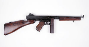 American Tommy Gun. WW11 production .45 Thompson M1928A1 SMG with 20 round magazine. The infamous Tommy gun royalty free stock photography