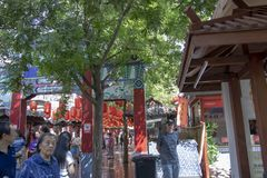 American tourists on crowded streets at Yongxingfang Intangible. Xi`an, Shaanxi Province, China - September 7, 2018 : Open air Yongxingfang Intangible Cultural royalty free stock image