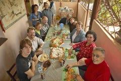 American tourists having lunch in El Rincon, Cuba stock photo