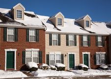 American traditional winter townhomes brick and wo Stock Photos