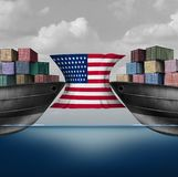 American Trade Restriction. As a tariffs idea in the United states as two opposing cargo ships stopped by a flag over import and export duties concept as a 3D Stock Photography