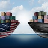 American Trade War. Tariffs in the United states as two opposing cargo ships as an economic  taxation dispute over import and exports concept as a 3D Stock Photography