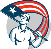 American Tradesman Holding USA Flag Circle Royalty Free Stock Image