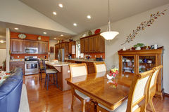 American traditional kitchen with glossy hardwood floor. Royalty Free Stock Image