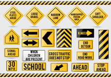American traffic signs. Vector illustration of traffic signs Stock Photo