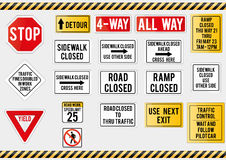 American traffic signs. Vector illustration of traffic signs Royalty Free Stock Photo