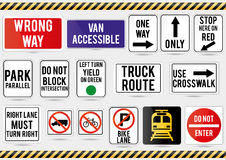 American traffic signs. Vector illustration of traffic signs Royalty Free Stock Photos