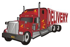 Trailer and delivery. American trailer with large letters delivery vector illustration