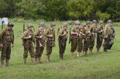 American troop in historical reenactment of WWII Royalty Free Stock Images