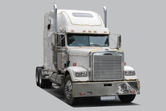 American truck. Road tractor isolated on grey Royalty Free Stock Photo