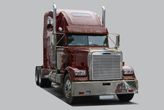 American truck. Road tractor isolated on grey Royalty Free Stock Image