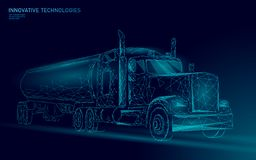 American truck low poly. Logistic transportation business trailer. Fast speed industry cargo delivery big heavy vehicle. Perspective view on highway. 3D vector vector illustration