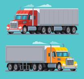 American Truck Trailer cargo transport. vector illustration