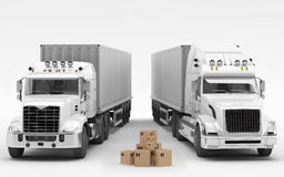 American Trucks. A couple of typical white American trucks Royalty Free Stock Photo