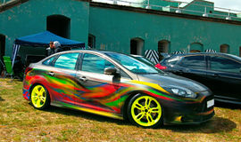 American tuning car. American tuning car Ford Focus 3 ST. Saint Petersburg, Russia. Show AutoPhotoCrazy 2017 Royalty Free Stock Photos