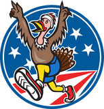 American Turkey Run Runner Cartoon Royalty Free Stock Photo