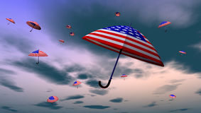 American Umbrellas In The Sky. 3d rendering of a sky with umbrellas with american flag Royalty Free Stock Photography