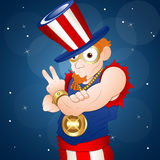 American Uncle Sam. Adult Cartoon Uncle Sam Character Expression Vector Illustration stock illustration