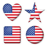 American United States Flag in glossy form button of icon set Royalty Free Stock Image