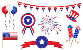 American United States 4th of July Items. A mixture of simple elements for use in 4th of July themed marketing collateral and websites. All fully layered and vector illustration