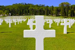American Unknown Soldier Grave, Italy. Cross marking the grave of a brave unknown American soldier laid to rest in the Florence American Cemetery and Memorial Royalty Free Stock Photography