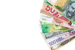 American Us Canadian Australian Dollar, Euro, Japanese Yen, and Chinese Yuan banknote isolated royalty free stock photos
