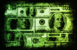 American US Dollars Currency Abstract. In Green stock illustration