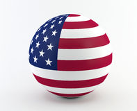 American (USA) flag on 3D sphere. USA flag isolated on white Royalty Free Stock Photo